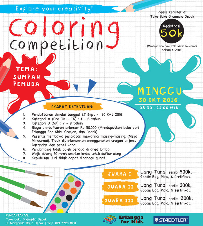 Coloring Competition di Gramedia Depok bersama Erlangga for Kids