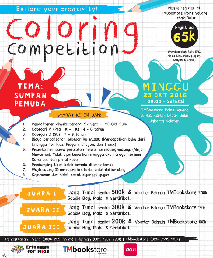 Coloring Competition di TMBookstore bersama Erlangga for Kdis